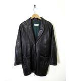 ルイフェロー LOUIS FERAUD ラムレザー コート ジャケット 羊革 本革 革ジャン 長袖 XL 黒 ブラック