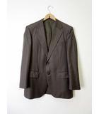 バーバリー BURBERRY ジャケット ブレザー テーラードジャケット ストライプ 2B 羊毛 ウール 絹 M グレー ブラウン 国内正規品