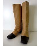シャネル CHANEL ブーツ ロングブーツ 本革 ラムレザー ココマーク 刺繍 35 ブラウンベージュ 黒 ブラック バイカラー くつ 靴 シューズ