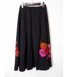 トクコプルミエヴォル TOKUKO 1er VOL スカート ロングスカート フレア ウール 花柄 刺繍 9 チャコールグレー 赤 ピンク オレンジ 美品