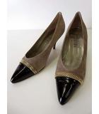 メダ MEDA パンプス 本革 スエード レザー キャップトゥ チェーン 装飾 22.5 グレー ベージュ グレージュ 黒 ブラック くつ 靴 シューズ