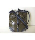 ヒロコビス HIROKO BIS バッグ ショルダーバッグ ナイロン フェイクレザー 斜め掛け スタッズ カーキ 紺 かばん 鞄 カバン