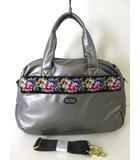 レイクアルスター Lake Alster バッグ 2WAY ボストン ショルダーバッグ シェニール織り 花柄 フェイクレザー グレー 黒 かばん 鞄 カバン 美品