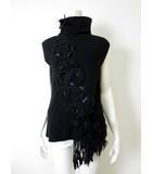 ムッシュ榊  MONSIEUR SAKAKI ニット セーター チュニック ノースリーブ ハイネック レース コード 刺繍 40 黒 ブラック