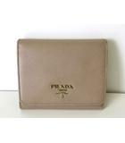 プラダ PRADA 財布 三つ折り レザー ロゴ ベージュ ゴールド金具 牛革 ウォレット