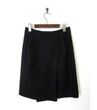 イヴサンローランリヴゴーシュ YVES SAINT LAURENT rive gauche スカート ラップスカート 巻きスカート ウール タック 38 M 黒 ブラック