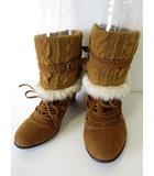 ブーツ ショートブーツ ニット ファー L キャメルブラウン 茶色 くつ 靴 シューズ