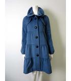 バーバリーブルーレーベル BURBERRY BLUE LABEL コート ロングコート アンゴラ 羊毛 ウール ティアード ギャザー 38 ブルーグレー ノバチェック 国内正規品