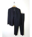 ジュンココシノ JUNKO KOSHINO ジュンキーノ JUNCHINO スーツ シングル ピンストライプ柄 ウール スーパー120 上下セットアップ 94AB4 S 紺 ネイビー