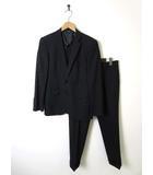 イザック Y'saccs SACSNY スーツ シングル シルク ウール 上下セットアップ 90A4 M 黒 ブラック