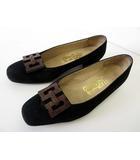 サルヴァトーレフェラガモ Salvatore Ferragamo パンプス ローヒール シューズ 本革 スエード レザー 6.5 D 黒 ブラック くつ 靴 ウッド ガンチーニ