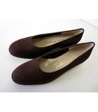サルヴァトーレフェラガモ Salvatore Ferragamo パンプス スリッポン 本革 ヌバックレザー 7.5 C ダークブラウン こげ茶色 くつ 靴 シューズ