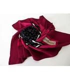 イヴサンローラン YVES SAINT LAURENT スカーフ ショール シルク ロゴ ドット柄 ボルドー 赤 黒 ブラック
