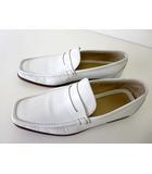 サルヴァトーレフェラガモ Salvatore Ferragamo ローファー ビジネスシューズ 革靴 スリッポン 本革 レザー 7.5 EEE 白 ホワイト 幅広 紳士 くつ 靴 シューズ