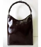 グッチ GUCCI バッグ ショルダーバッグ バンブー ハンドル エナメル パテント レザー ダークブラウン ブロンズ こげ茶色 ワンショルダー かばん 鞄 カバン