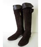 ブルーノマリ BRUNO MAGLI ブーツ ロングブーツ ジョッキーブーツ 本革 スエード レザー 37 ダークブラウン こげ茶色 くつ 靴 シューズ