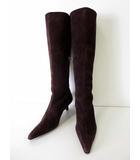 イヴサンローラン YVES SAINT LAURENT ブーツ ロングブーツ 本革 スエード レザー 7.5 ダークブラウン こげ茶色 くつ 靴 シューズ