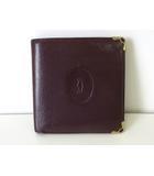 カルティエ Cartier 財布 二つ折り マストライン レザー ボルドー ゴールド金具 牛革 コンパクト ウォレット