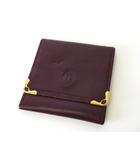 カルティエ Cartier 小銭入れ コインケース マストライン レザー ボルドー ゴールド金具 牛革 財布 ウォレット