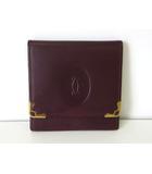 カルティエ Cartier 小銭入れ コインケース マストライン レザー ボルドー ゴールド金具 財布 ウォレット