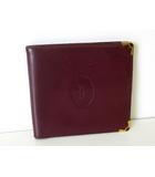 カルティエ Cartier 財布 二つ折り マストライン レザー 札入れ ボルドー ゴールド金具 牛革 ウォレット