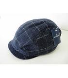 マンシングウェア MUNSINGWEAR ハンチング ハンチング帽 ぼうし 帽子 コットン チェック柄 M ブルーグレー タグ付 美品 GOLF ゴルフウエア 国内正規品