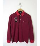 マンシングウェア MUNSINGWEAR ゴルフ ポロシャツ 長袖 ボーダー柄 ロゴ M 赤 黒 国内正規品