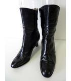 バリー BALLY ブーツ ショートブーツ 本革 レザー 23.5 黒 ブラック  くつ 靴 シューズ