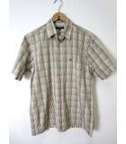 バーバリー BURBERRY シャツ カジュアルシャツ 半袖 チェック柄 ホース ロゴ 刺繍 L ブラウン モカ 国内正規品