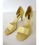 ルイヴィトン LOUIS VUITTON サンダル パンプス エナメル レザー ヒール ロゴ 37 イエロー 黄色 くつ 靴 シューズ