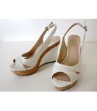 プールサイド POOLSIDE サンダル ウエッジサンダル レザー ハイヒール バックベルト 24.5 白 ホワイト くつ 靴 シューズ