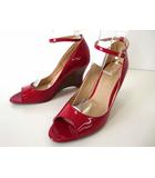 プールサイド POOLSIDE パンプス ウエッジソール エナメル アンクルベルト オープントゥ 24.5 赤 レッド くつ 靴 シューズ