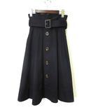 リリーブラウン Lily Brown スカート トレンチスカート フレア ミモレ丈 ベルト F 黒 ブラック