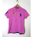 ラルフローレン RALPH LAUREN ポロシャツ 半袖 ビッグポニー ロゴ ナンバー 刺繍 切替 M ピンク 紺 ネイビー 国内正規品
