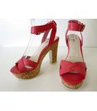 ランダ RANDA サンダル ハイヒール アンクルベルト レザー LL ピンク 白 くつ 靴 シューズ 大きいサイズ