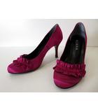 ダイアナ DIANA パンプス ハイヒール サテン フリル 25.0 赤紫 くつ 靴 シューズ