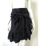 イザベル マラン エトワール ISABEL MARANT ETOILE スカート ラップ風 リネン 麻100% フリル リボン 36 S 黒 ブラック
