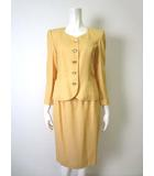ウンガロ UNGARO スカート スーツ ノーカラー ジャケット 上下セットアップ S 黄 山吹色
