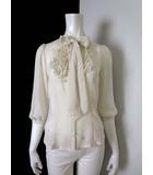 ロイスクレヨン Lois CRAYON シャツ ブラウス 7分袖 とろみ リボン ロゴ 刺繍 M ベージュ フリル ギャザー