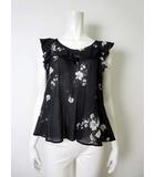 スナイデル snidel カットソー ブラウス チュニック 半袖 キャップスリーブ フリル 花柄 F 黒 ブラック 白 ホワイト