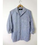 カバンドズッカ CABANE de zucca シャツ カジュアルシャツ 7分袖 リネン 麻 ストライプ S 青 ブルー 白