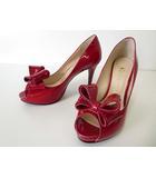 ダイアナ DIANA パンプス ハイヒール ピンヒールエナメル リボン オープントゥ 25.0 赤 レッド くつ 靴 シューズ 大きいサイズ
