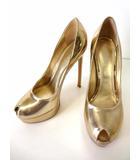 ルイヴィトン LOUIS VUITTON パンプス ハイヒール ピンヒール オープントゥ エナメル レザー 37.5 ゴールド シャイニー 金色 くつ 靴 シューズ