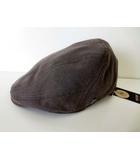 モサン MOSSANT ハンチング 帽子 ハンチング帽 ぼうし リネン 麻 ロゴ 58cm グレー ボウシ タグ付 美品