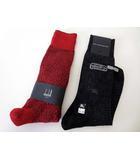 バーバリー BURBERRY ダンヒル dunhill ソックス 靴下 ビジネスソックス 2足 セット 25-27 チャコールグレー 赤 タグ付 美品 国内正規品