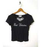 エムケー ミッシェルクラン MK MICHEL KLEIN Tシャツ カットソー 半袖 レース 刺繍 ラインストーン Vネック バックシャン M 黒 ブラック
