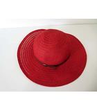 ハッツ&ドリームス HATS & DREAMS ハット ストローハット つば広 麦わら帽子 F 赤 レッド イタリア製 帽子 ぼうし タグ付 美品
