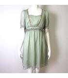 ウェンディーネ Wendine ワンピース ドレス 半袖 ビジュー ビーズ パール 刺繍 シフォン フレア M 緑 スモーキーグリーン
