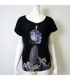 ディーゼル DIESEL カットソー Tシャツ チュニック バック メッシュ XS 黒 ブラック