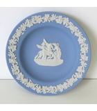 ウェッジウッド WEDGWOOD プレート 皿 ジャスパー 飾り皿 小皿 丸皿 陶磁器 ブルー 白 箱付 美品